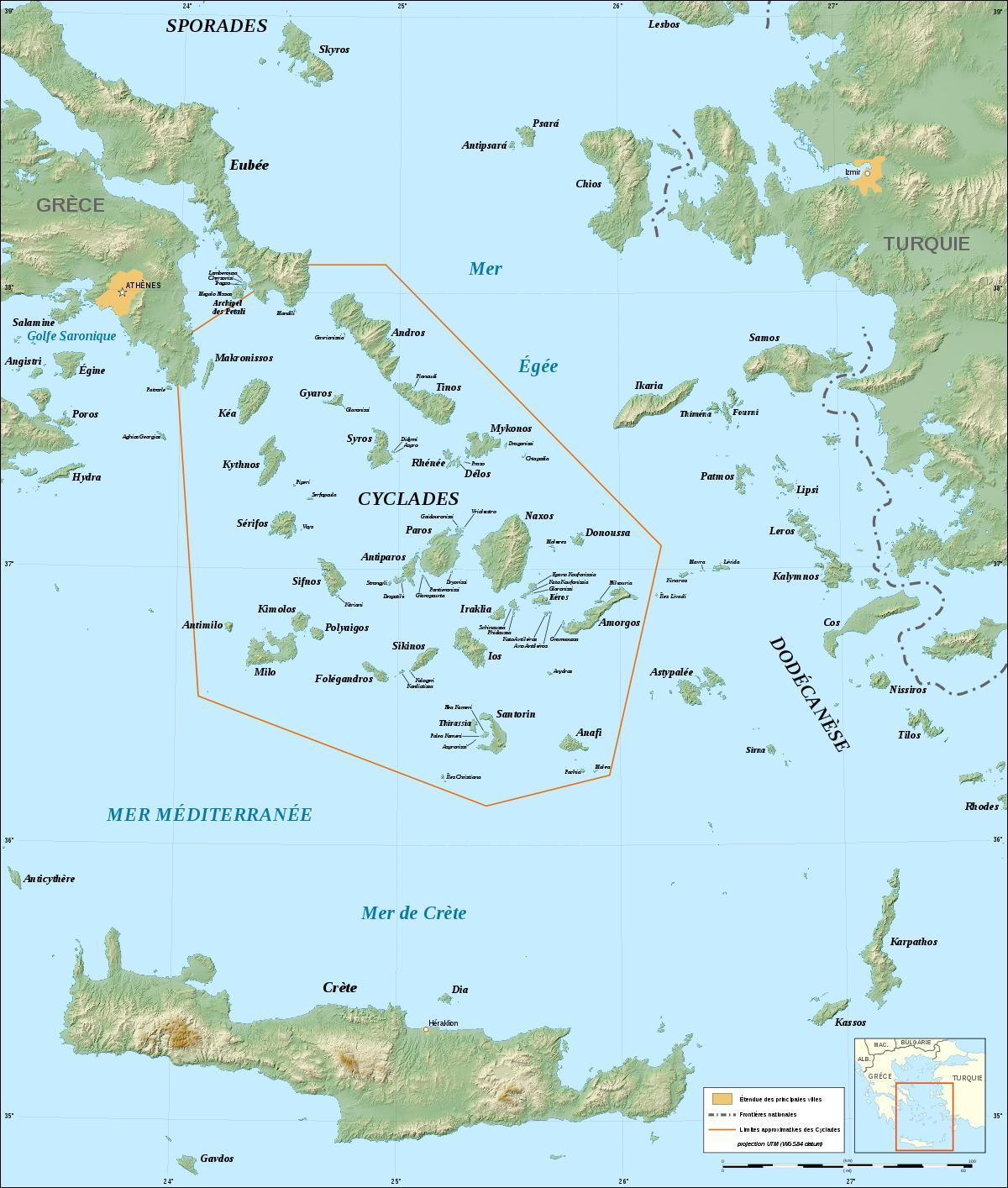 kykladene kart Greske øygruppen kykladene kart   Kart over kykladene greske øyene  kykladene kart