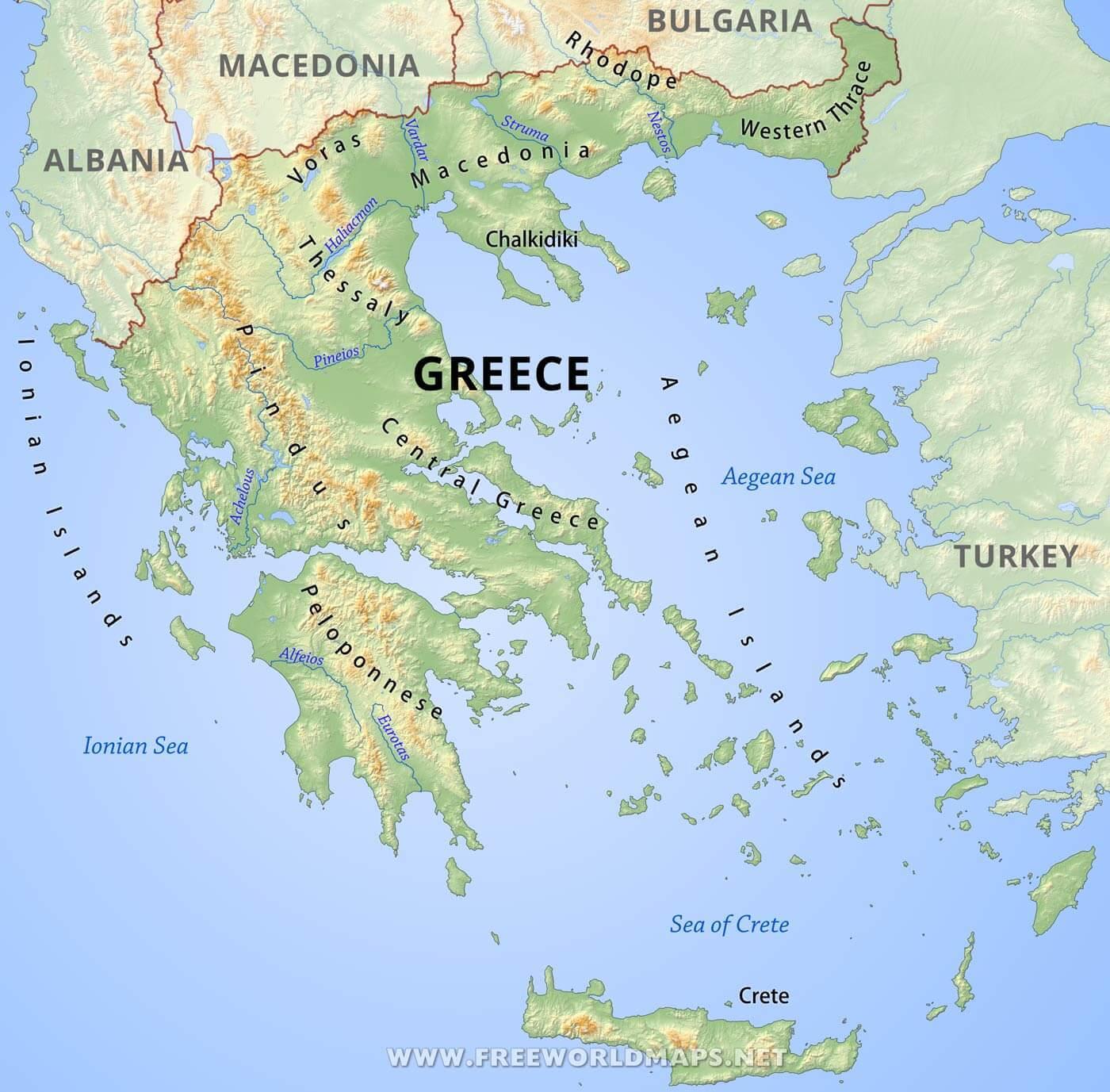 Greske Fjellene Kart Kart Over Hellas Med Fjell Sor Europa