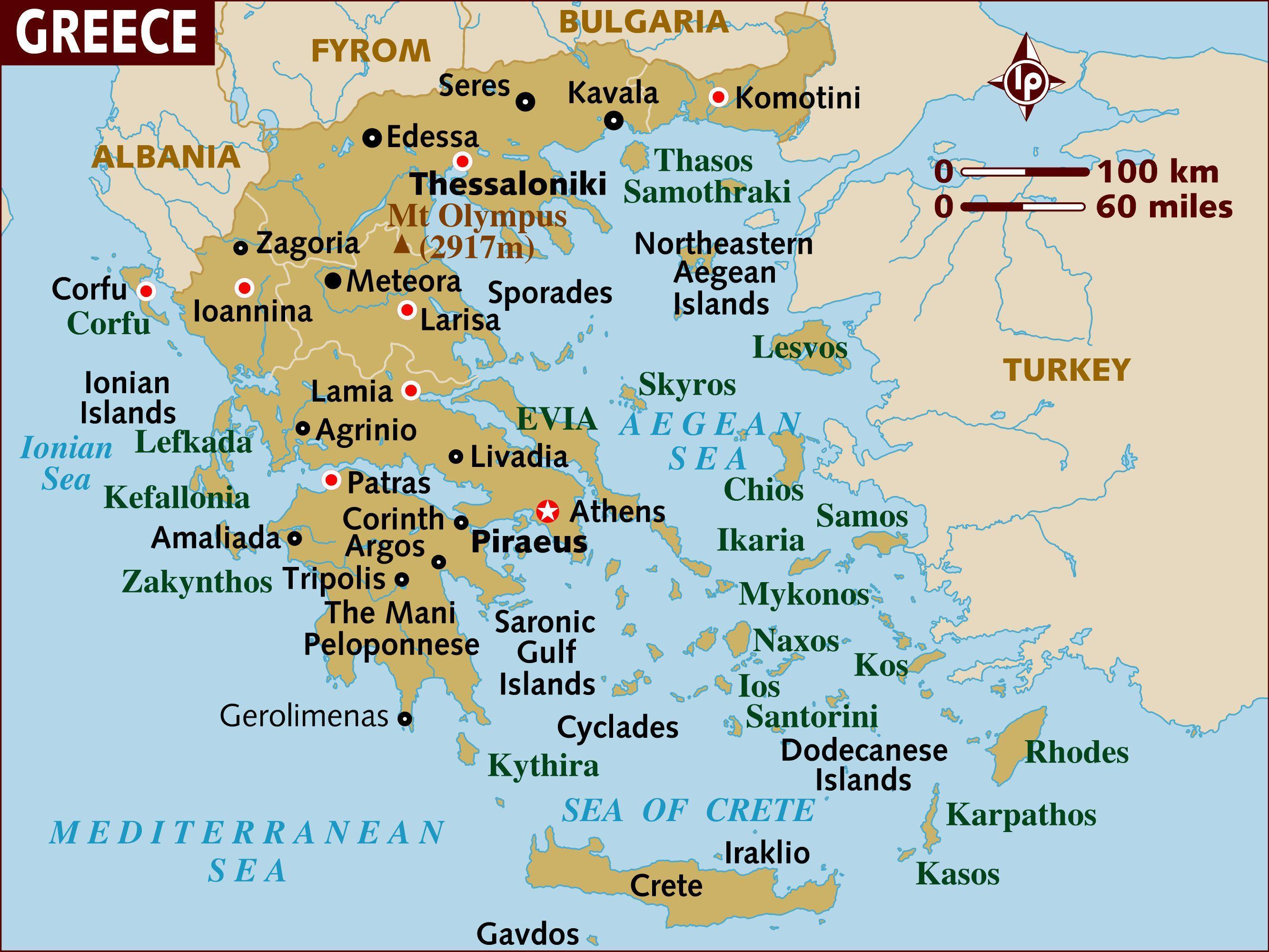 kart over hellas og øyene Kart over Hellas   øyene  Øyene i Hellas kart (Sør Europa   Europa) kart over hellas og øyene