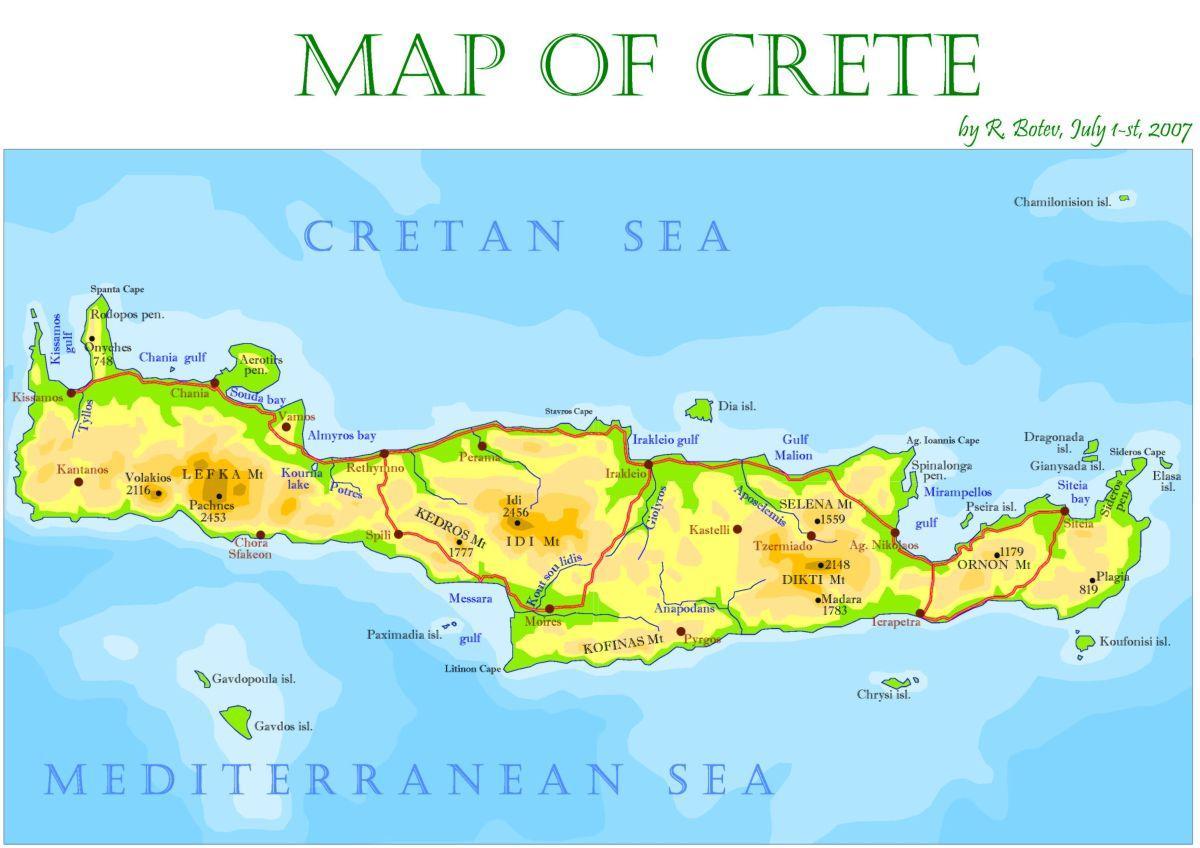 kreta kart Kreta øya i Hellas kart   Kreta, Hellas kart island (Sør Europa  kreta kart
