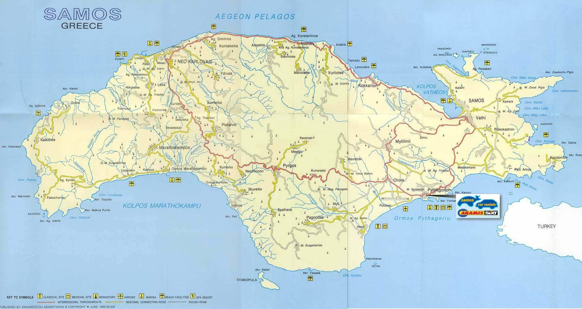 kart over samos Samos, Hellas kart   Kart Samos, Hellas (Sør Europa   Europa) kart over samos
