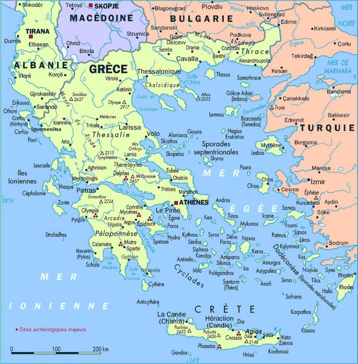 kart over de greske øyene Hellas øyene kart   Kart over Hellas med øyer (Sør Europa   Europa) kart over de greske øyene