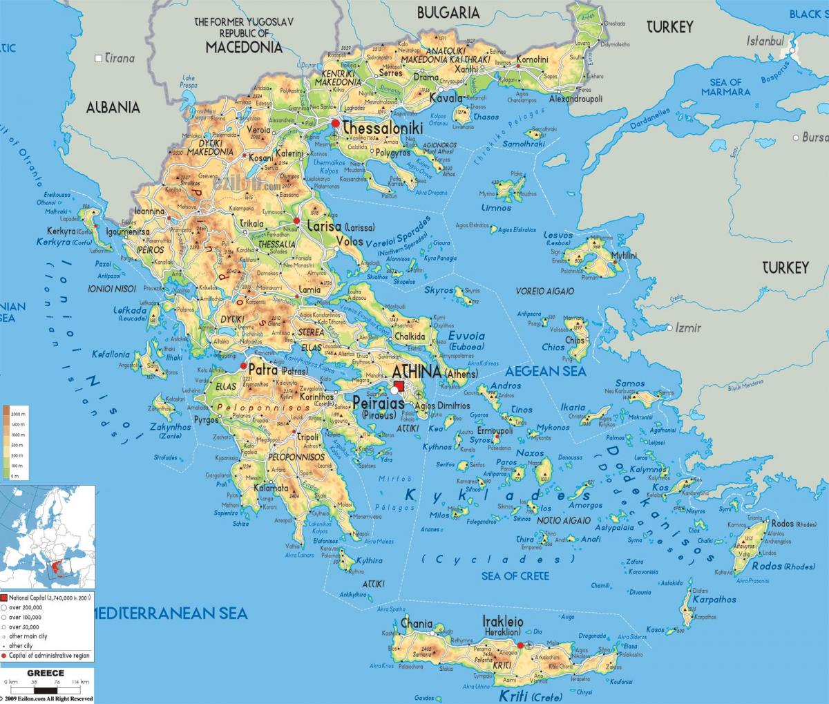 geografiske kart over Hellas