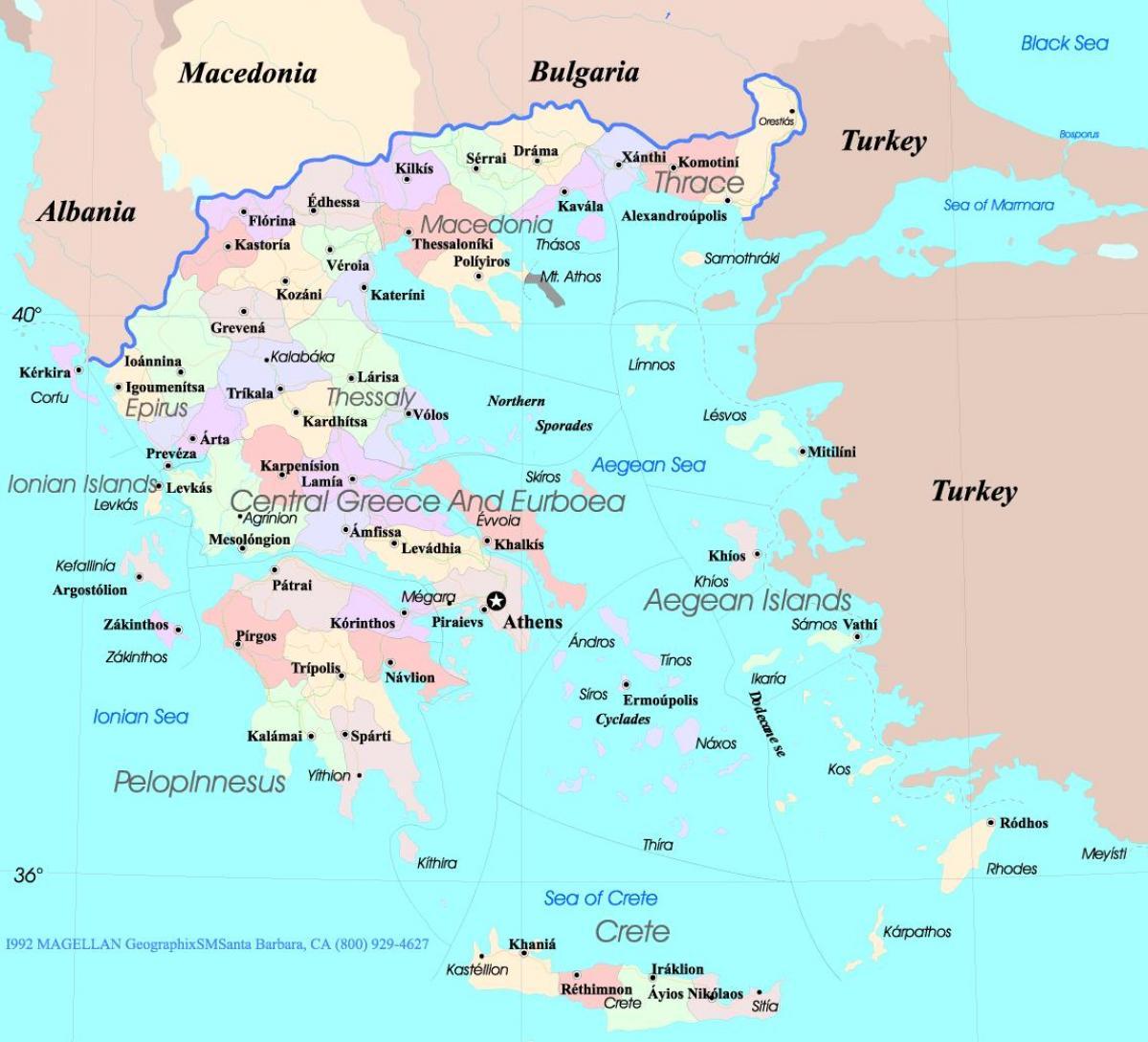 Hellas Kart Engelsk Kart Over Hellas I Norsk Engelsk Sor