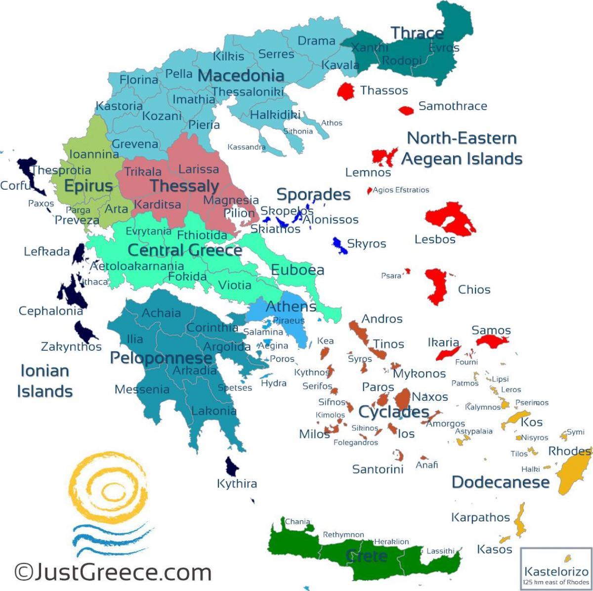 kart greske øyer Kart over greske øyer   greske øyer kart (Sør Europa   Europa) kart greske øyer
