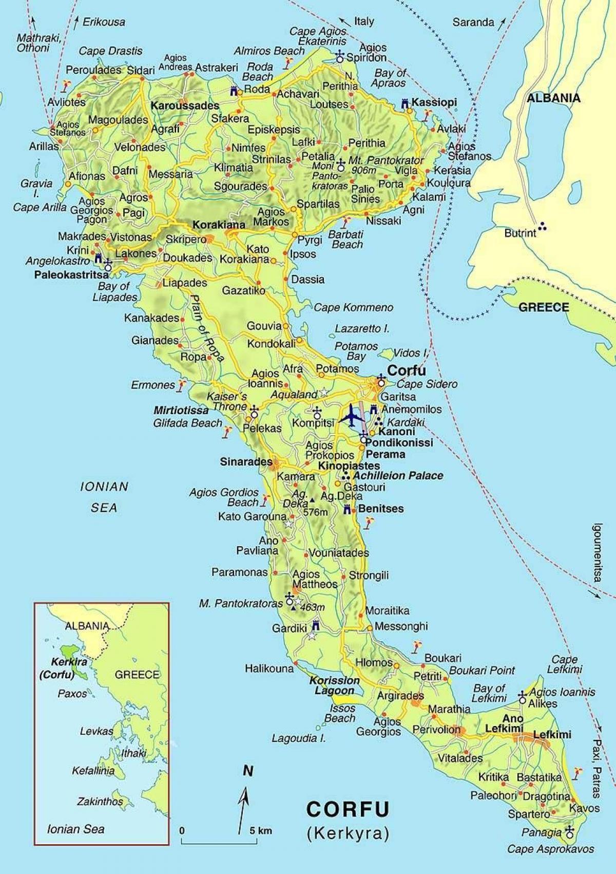 kart over korfu Korfu kart Hellas   Kart Korfu, Hellas (Sør Europa   Europa) kart over korfu